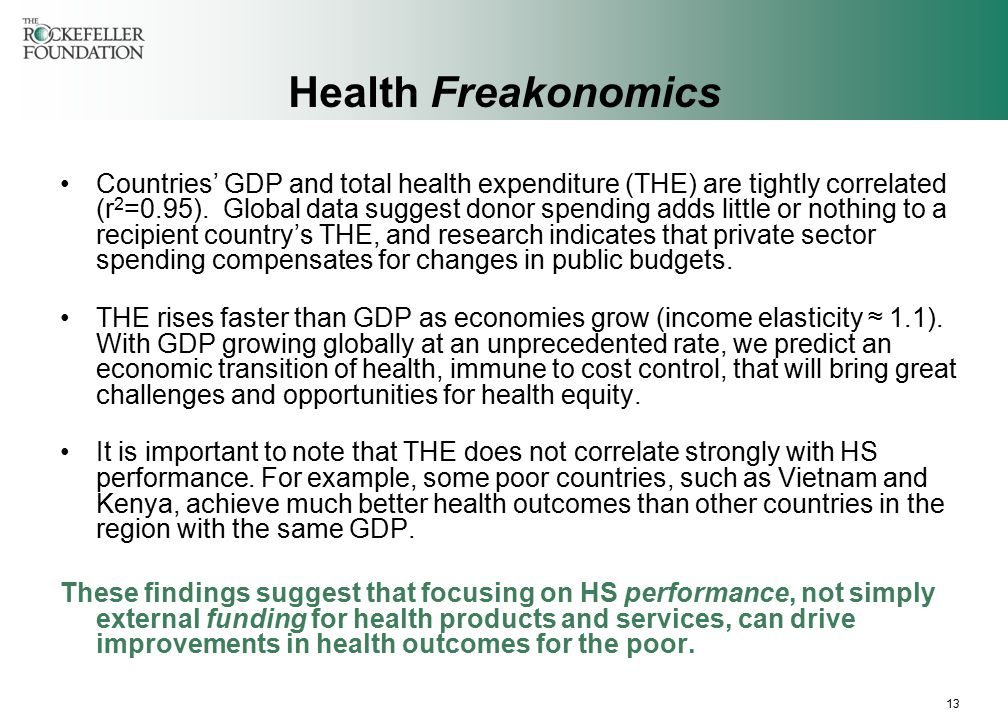 13 Health Freakonomics Countries' GDP and total health expenditure (THE) are tightly correlated (r 2 =0.95).