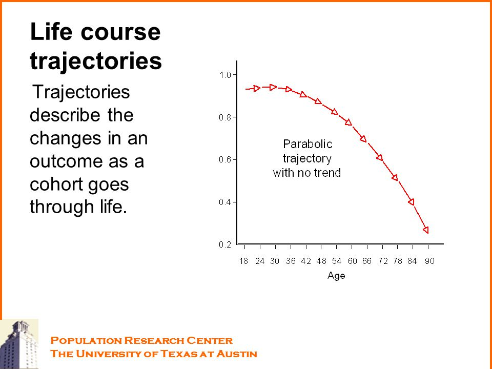 Life course trajectories Trajectories describe the changes in an outcome as a cohort goes through life. Population Research Center The University of T