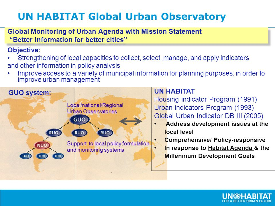 "UN HABITAT Global Urban Observatory Global Monitoring of Urban Agenda with Mission Statement ""Better information for better cities"" Objective: Strengt"