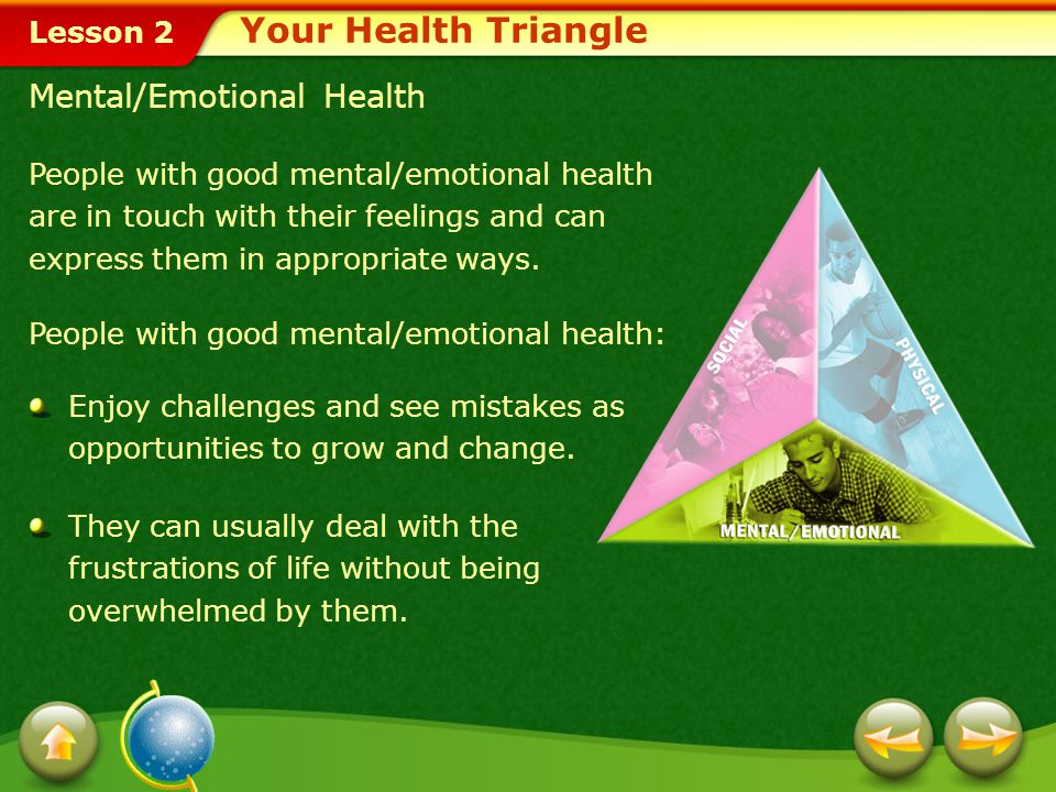Lesson 2 Select the side of your health triangle that you think is most affected by personal behavior.