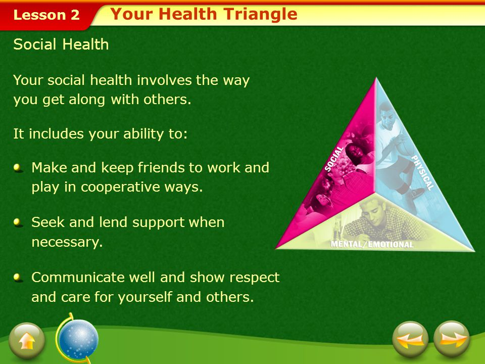 Lesson 2 Social Health Your social health involves the way you get along with others.