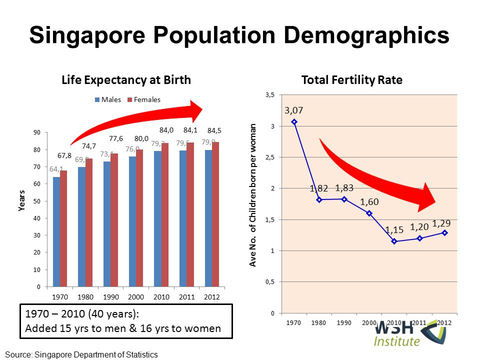 Singapore Population Demographics Source: Singapore Department of Statistics 1970 – 2010 (40 years): Added 15 yrs to men & 16 yrs to women