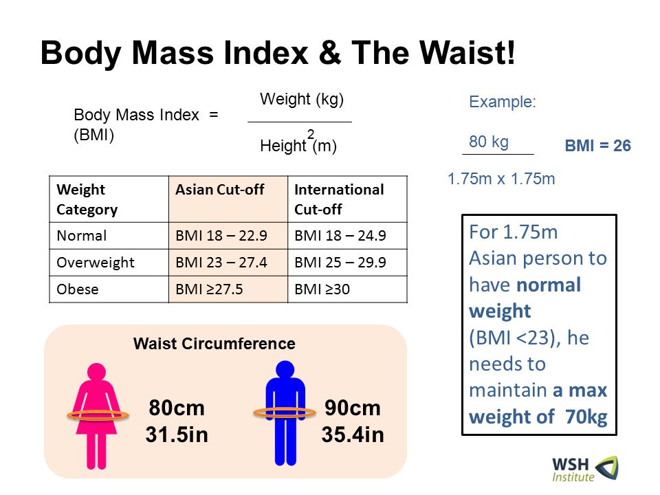 Body Mass Index & The Waist! 80cm 31.5in 90cm 35.4in Body Mass Index = (BMI) Height (m) Weight (kg) 2 Weight Category Asian Cut-offInternational Cut-o
