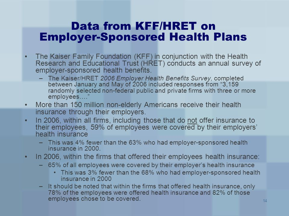 14 Data from KFF/HRET on Employer-Sponsored Health Plans The Kaiser Family Foundation (KFF) in conjunction with the Health Research and Educational Tr