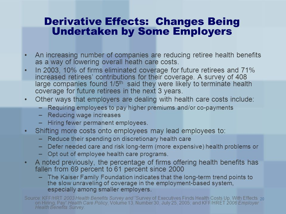 20 Derivative Effects: Changes Being Undertaken by Some Employers An increasing number of companies are reducing retiree health benefits as a way of l