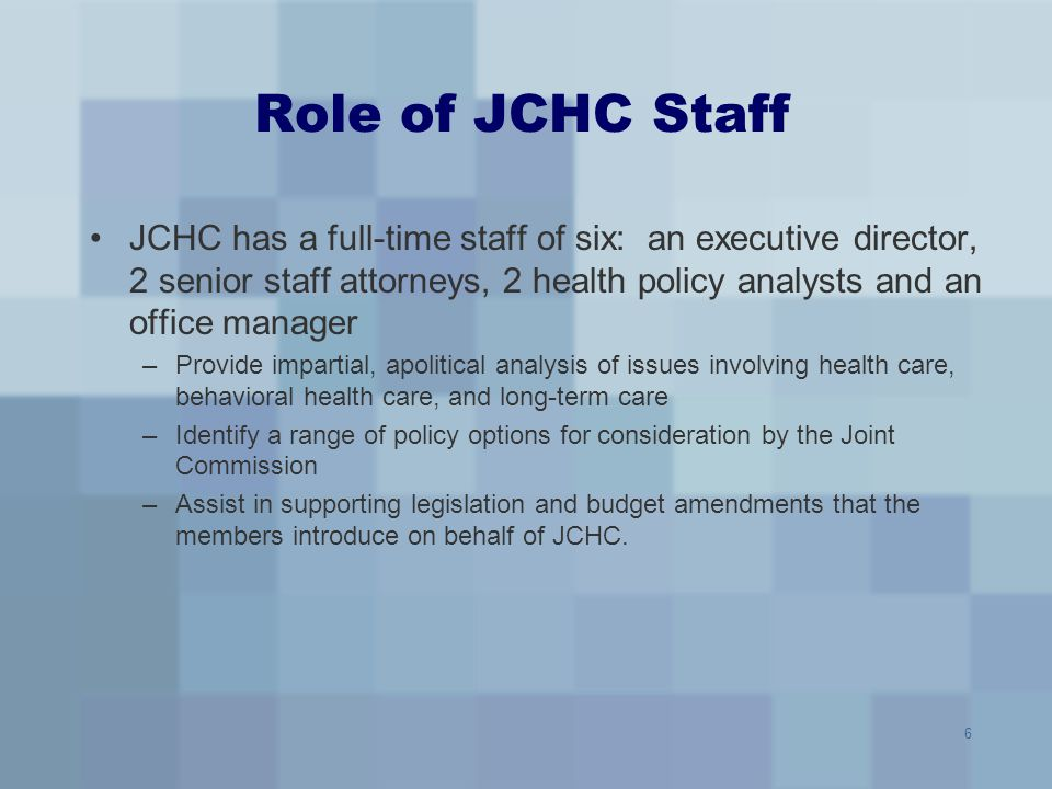 7 Study Process Staff research and presentation of Studies (May- October) –Public comments received (after issue brief) –Public comments summarized (next meeting after issue brief) Subcommittee meetings conducted (May-October) JCHC consideration of decision matrix (Nov.) JCHC vote on legislative package (Nov.) General Assembly session