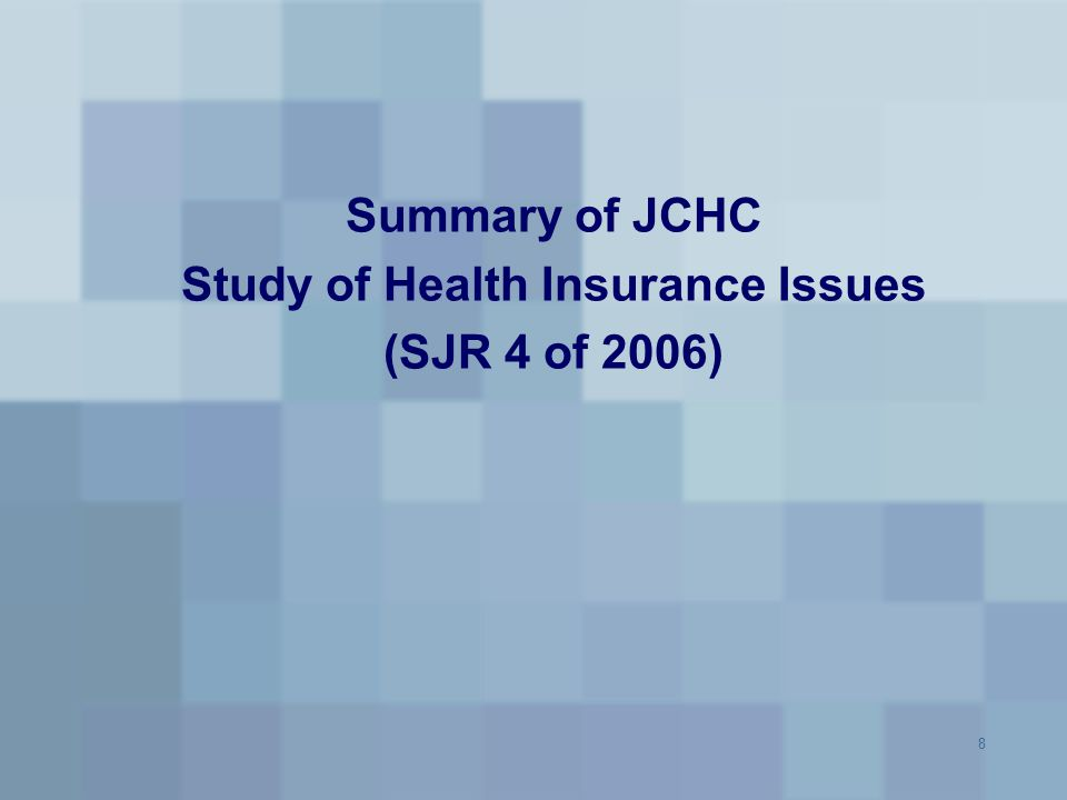 9 JCHC Health Insurance Study Senate Joint Resolution 4 (Senator Reynolds) directed JCHC to study the derivative effects of increases in health care costs on health insurance premiums and to examine: – Factors leading to rising health care costs in the Commonwealth – Ways to reduce health care costs in the Commonwealth and alleviate the burdens associated with the rising cost of health care. Specific health insurance recommendations will not be made until next year as staff will address health care cost issues as part of a 2007 study (based on HB 1324) to examine ways to expand health insurance into rural areas of the Commonwealth – This will allow for consideration of data and findings from other ongoing studies and reports in making recommendations including Virginia Health Care Foundation's Health Access in Virginia Report JLARC report Options for Extending Health Insurance to Uninsured Virginians (HJR 158) Report of the Governor's Health Care Reform Commission.