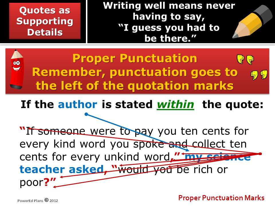 """Proper Punctuation Remember, punctuation goes to the left of the quotation marks Proper Punctuation Marks If the author is stated within the quote: """"I"""