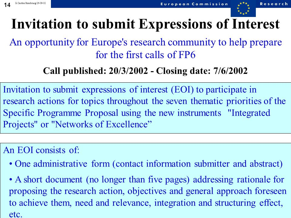 14 G.Cardon/Strasbourg/26-09-02 Invitation to submit expressions of interest (EOI) to participate in research actions for topics throughout the seven