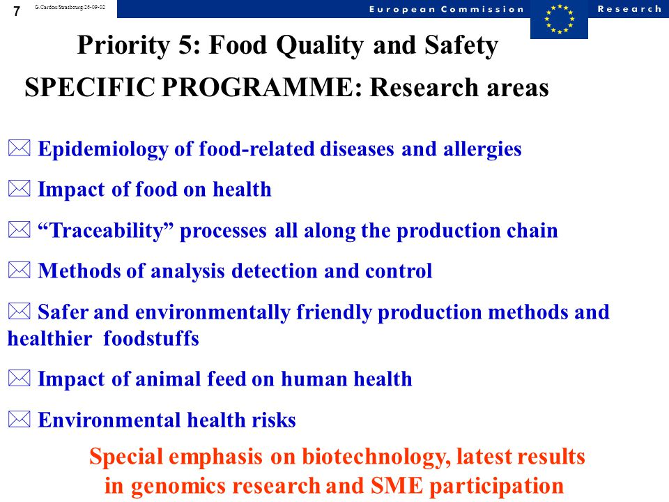 18 G.Cardon/Strasbourg/26-09-02 53 topics addressing important aspects of food quality and safety and worthy of consideration for treatment by the new instruments were identified.