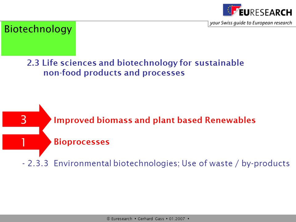 © Euresearch  Gerhard Gass  01.2007  Biotechnology 2.3 Life sciences and biotechnology for sustainable non-food products and processes - 2.3.1 Impr