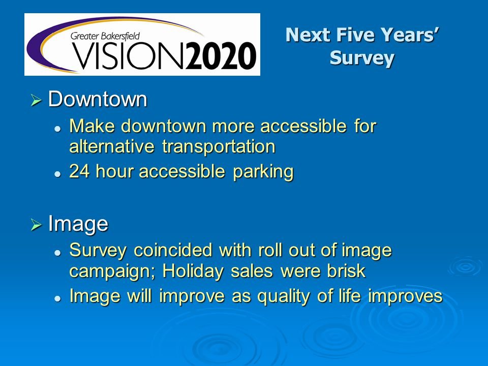 Next Five Years' Survey  Downtown Make downtown more accessible for alternative transportation Make downtown more accessible for alternative transportation 24 hour accessible parking 24 hour accessible parking  Image Survey coincided with roll out of image campaign; Holiday sales were brisk Survey coincided with roll out of image campaign; Holiday sales were brisk Image will improve as quality of life improves Image will improve as quality of life improves