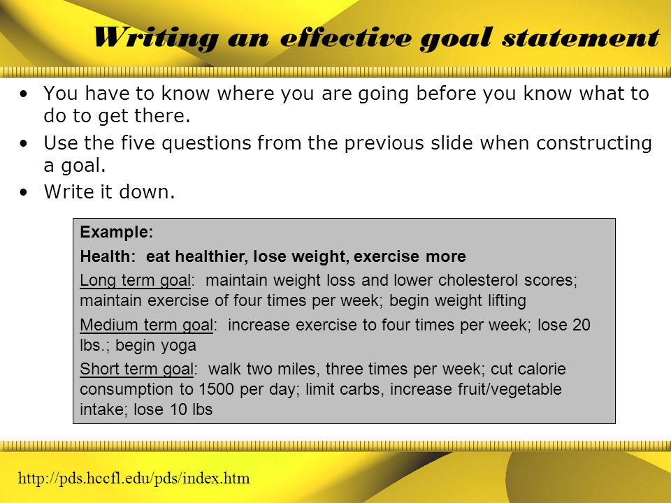 Designing effective goals Ask yourself these questions when designing a goal: 1.Is this a goal I want to devote time and energy to accomplish.