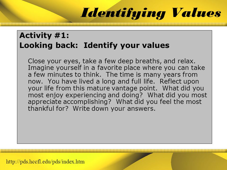In sync with your values Time Management must support your values and priorities Your best option for time management is to utilize the process of val