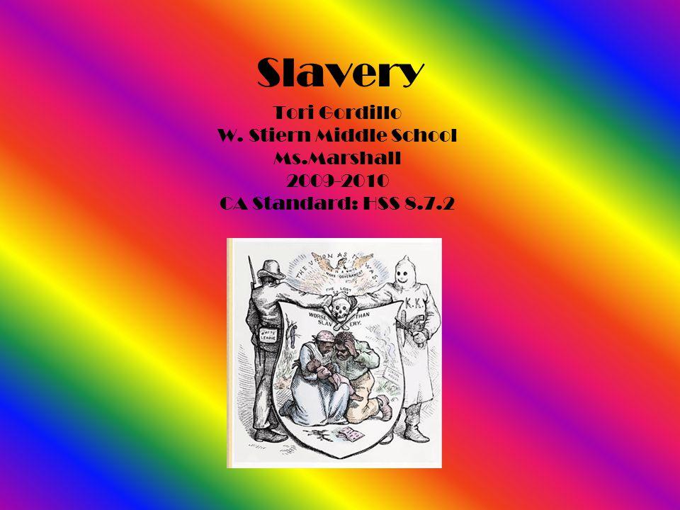 Slavery Tori Gordillo W. Stiern Middle School Ms.Marshall 2009-2010 CA Standard: HSS 8.7.2