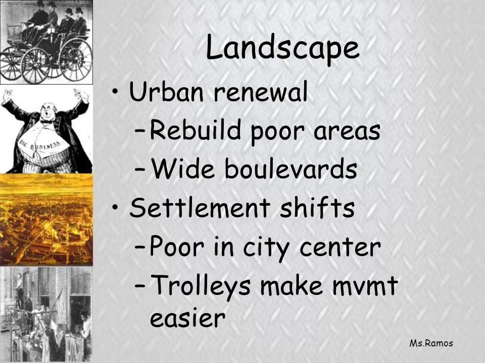 Ms.Ramos Landscape Urban renewal –Rebuild poor areas –Wide boulevards Settlement shifts –Poor in city center –Trolleys make mvmt easier
