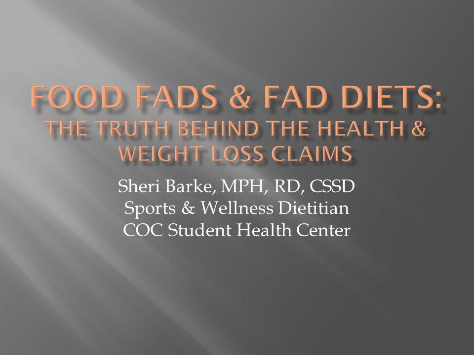Sheri Barke, MPH, RD, CSSD Sports & Wellness Dietitian COC Student Health Center