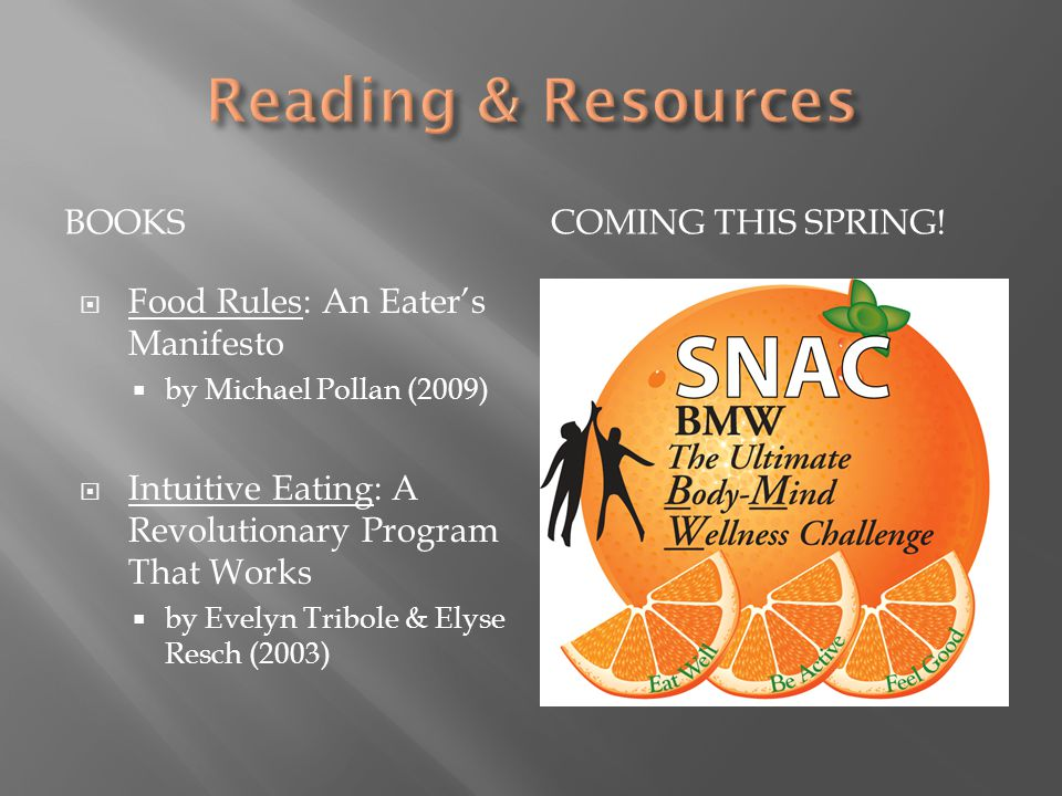BOOKSCOMING THIS SPRING!  Food Rules: An Eater's Manifesto  by Michael Pollan (2009)  Intuitive Eating: A Revolutionary Program That Works  by Eve