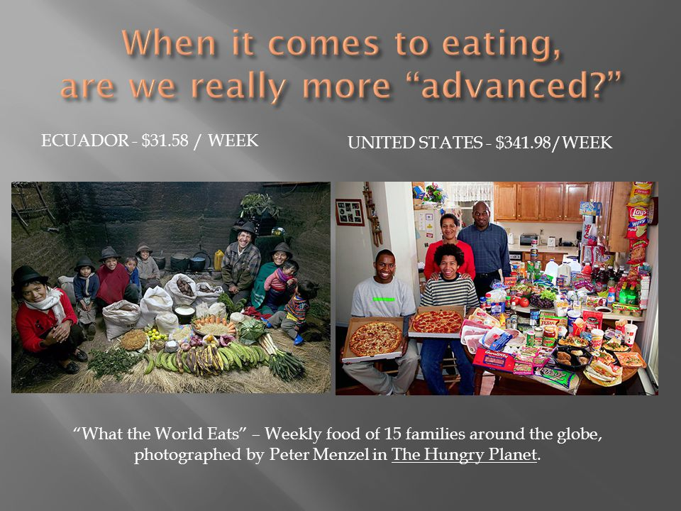 ECUADOR - $31.58 / WEEK UNITED STATES - $341.98/WEEK What the World Eats – Weekly food of 15 families around the globe, photographed by Peter Menzel in The Hungry Planet.