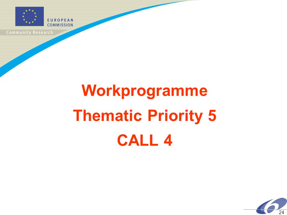 24 Workprogramme Thematic Priority 5 CALL 4