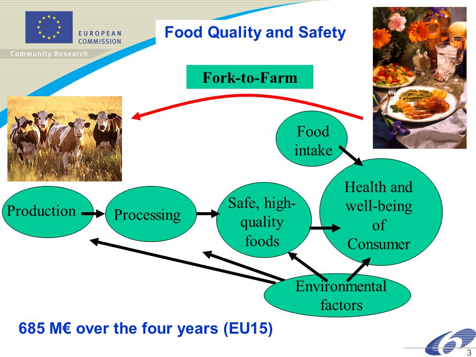 3 Food Quality and Safety Production ProcessingHealth and well-being of Consumer Safe, high- quality foods Food intake Environmental factors Fork-to-Farm 685 M€ over the four years (EU15)