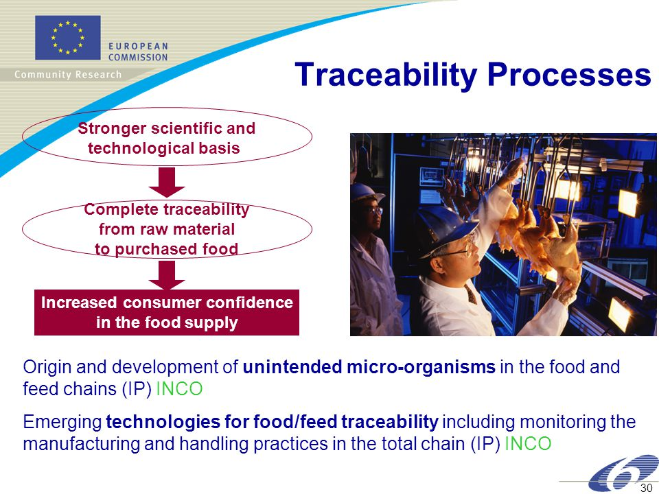 30 Traceability Processes Increased consumer confidence in the food supply Stronger scientific and technological basis Complete traceability from raw material to purchased food Origin and development of unintended micro-organisms in the food and feed chains (IP) INCO Emerging technologies for food/feed traceability including monitoring the manufacturing and handling practices in the total chain (IP) INCO