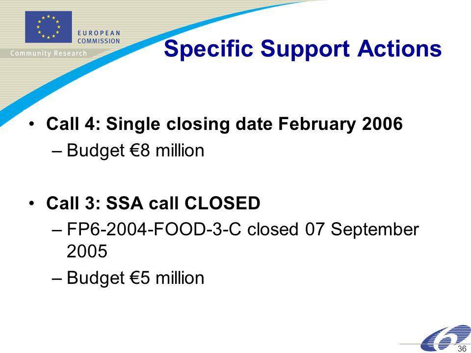 36 Specific Support Actions Call 4: Single closing date February 2006 –Budget €8 million Call 3: SSA call CLOSED –FP6-2004-FOOD-3-C closed 07 September 2005 –Budget €5 million