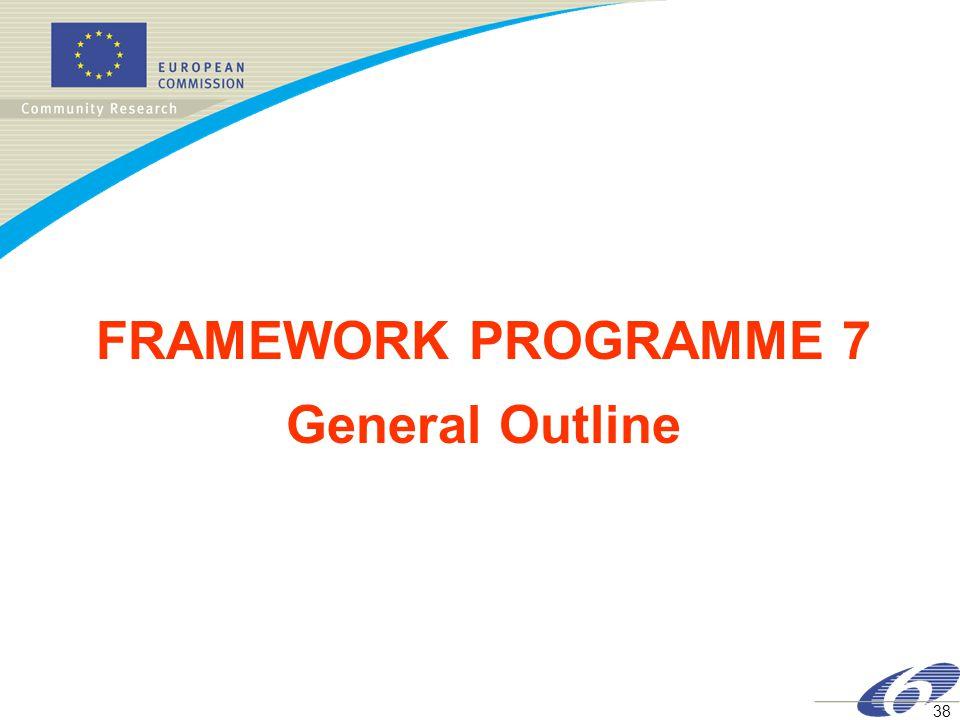 38 FRAMEWORK PROGRAMME 7 General Outline