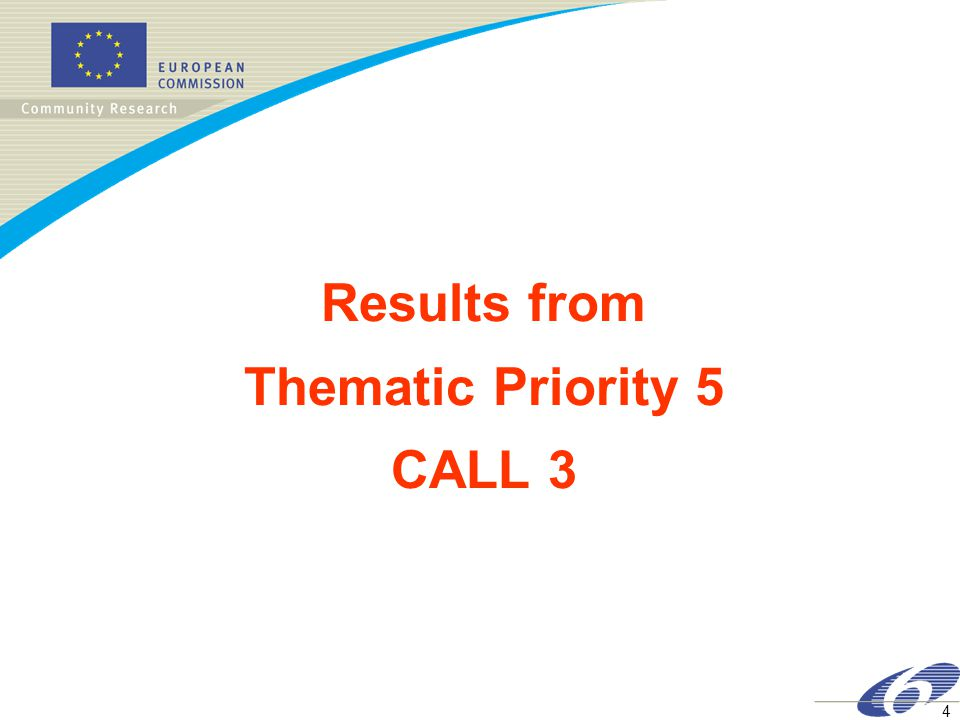4 Results from Thematic Priority 5 CALL 3