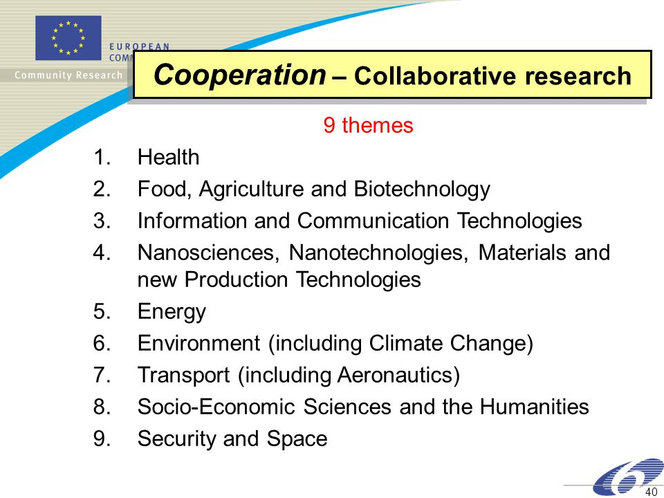 40 9 themes 1.Health 2.Food, Agriculture and Biotechnology 3.Information and Communication Technologies 4.Nanosciences, Nanotechnologies, Materials and new Production Technologies 5.Energy 6.Environment (including Climate Change) 7.Transport (including Aeronautics) 8.Socio-Economic Sciences and the Humanities 9.Security and Space Cooperation – Collaborative research