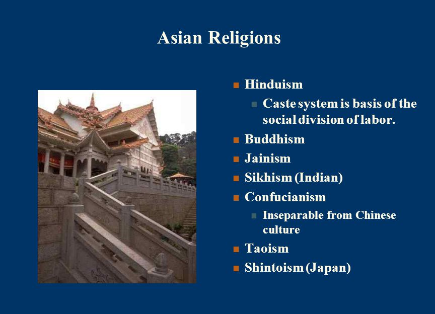Asian Religions Hinduism Caste system is basis of the social division of labor.