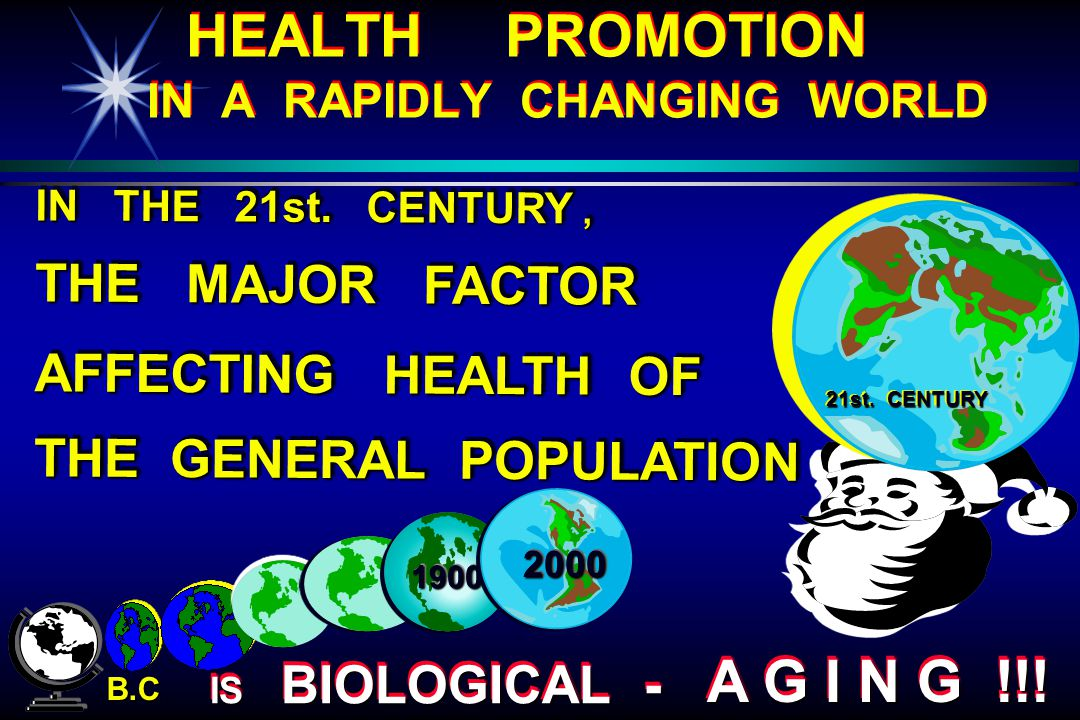 HEALTH PROMOTION IN A RAPIDLY CHANGING WORLD 18001800 B.C. 21st. CENTURY IN THE 21st. CENTURY, THE MAJOR FACTOR AFFECTING HEALTH OF THE GENERAL POPULA