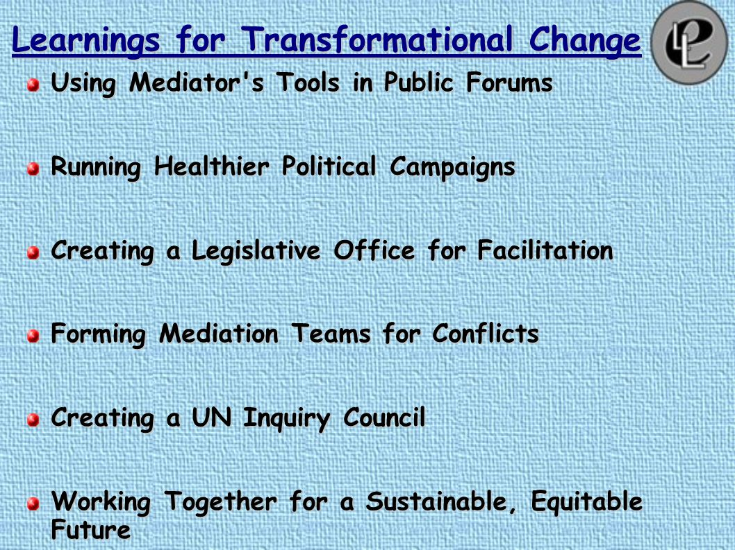 Learnings for Transformational Change Raising a Conflict- Literate Generation.