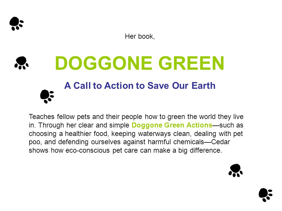 Her book, DOGGONE GREEN A Call to Action to Save Our Earth Teaches fellow pets and their people how to green the world they live in.