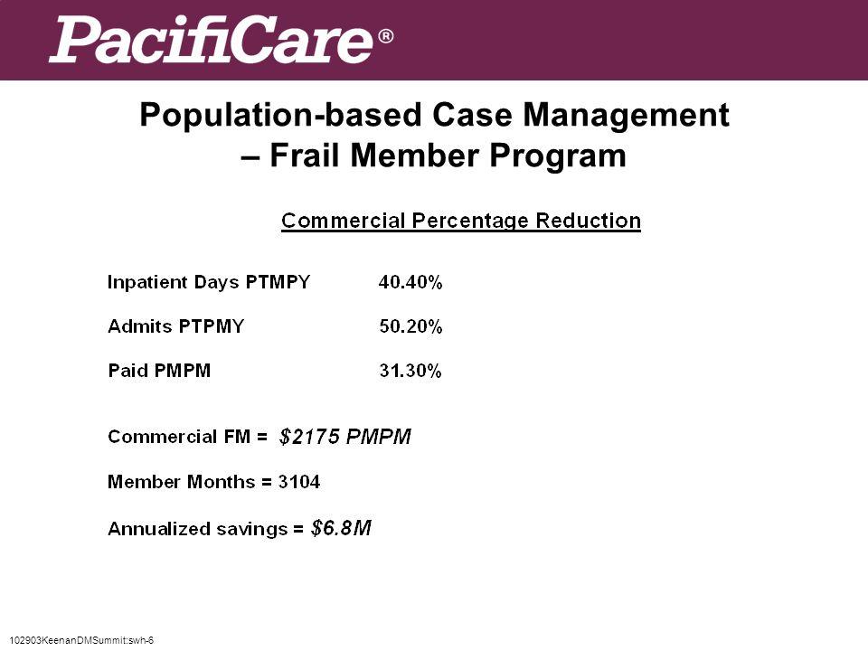 102903KeenanDMSummit:swh-6 Population-based Case Management – Frail Member Program
