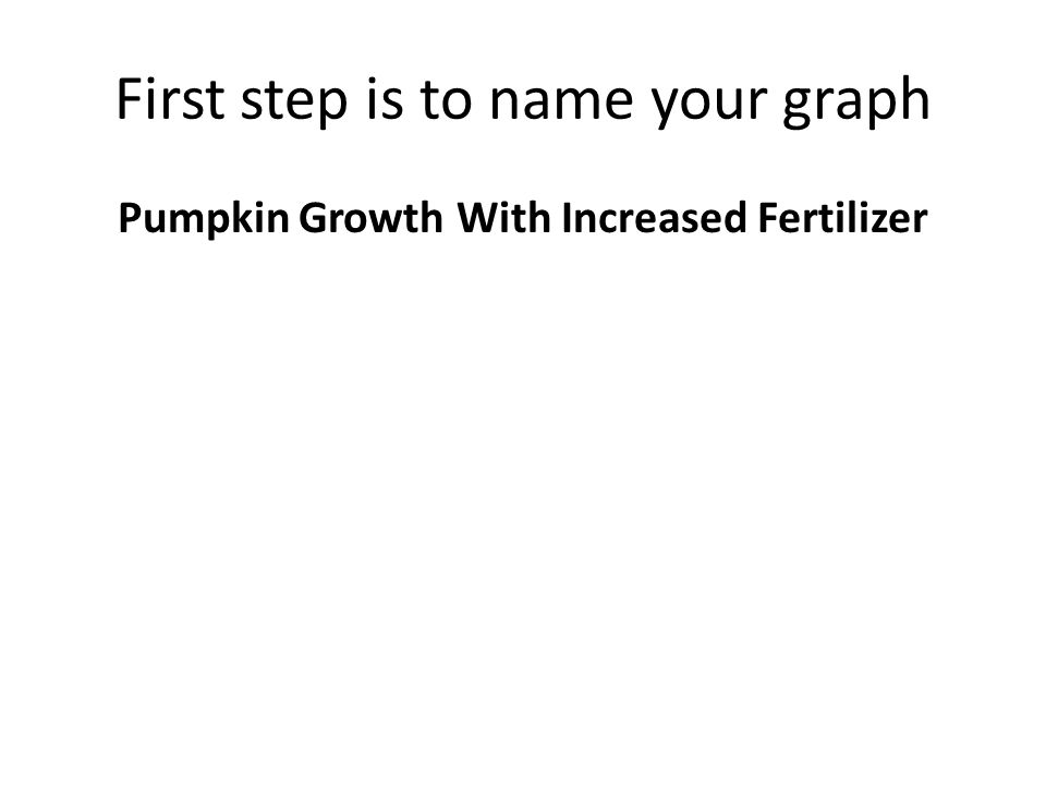 First step is to name your graph Pumpkin Growth With Increased Fertilizer