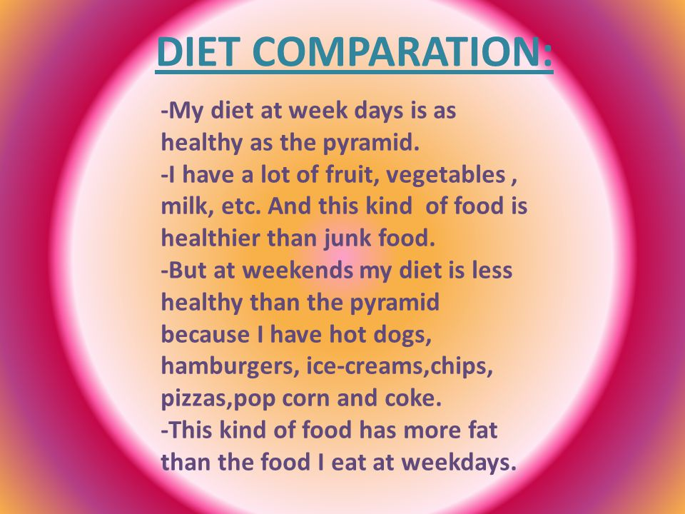 DIET COMPARATION: -My diet at week days is as healthy as the pyramid.