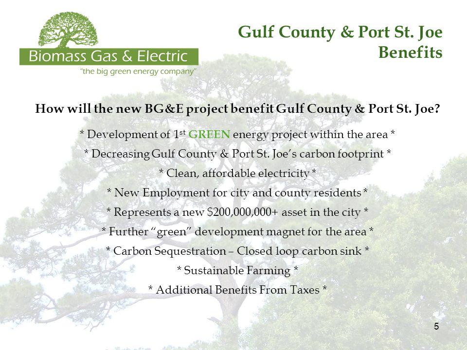 5 Gulf County & Port St. Joe Benefits How will the new BG&E project benefit Gulf County & Port St.