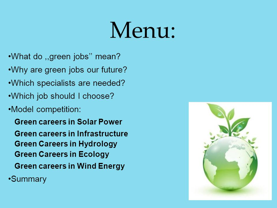 Menu: What do,,green jobs'' mean? Why are green jobs our future? Which specialists are needed? Which job should I choose? Model competition: Green car