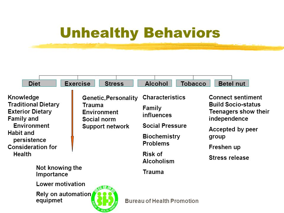 Bureau of Health Promotion Unhealthy Behaviors DietExerciseStressAlcoholTobacco Betel nut Not knowing the Importance Lower motivation Rely on automation equipmet Genetic,Personality Trauma Environment Social norm Support network Characteristics Family influences Social Pressure Biochemistry Problems Risk of Alcoholism Trauma Connect sentiment Build Socio-status Teenagers show their independence Accepted by peer group Freshen up Stress release Knowledge Traditional Dietary Exterior Dietary Family and Environment Habit and persistence Consideration for Health
