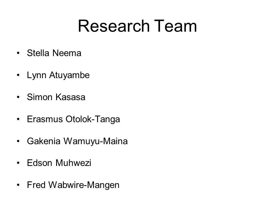 Research Team Stella Neema Lynn Atuyambe Simon Kasasa Erasmus Otolok-Tanga Gakenia Wamuyu-Maina Edson Muhwezi Fred Wabwire-Mangen