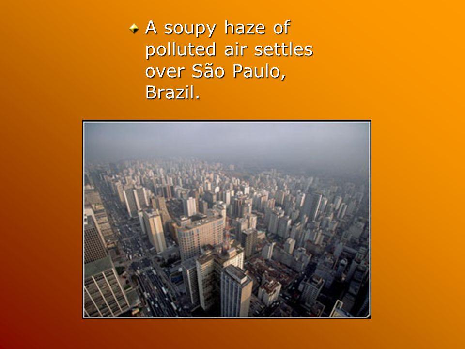 A soupy haze of polluted air settles over São Paulo, Brazil.