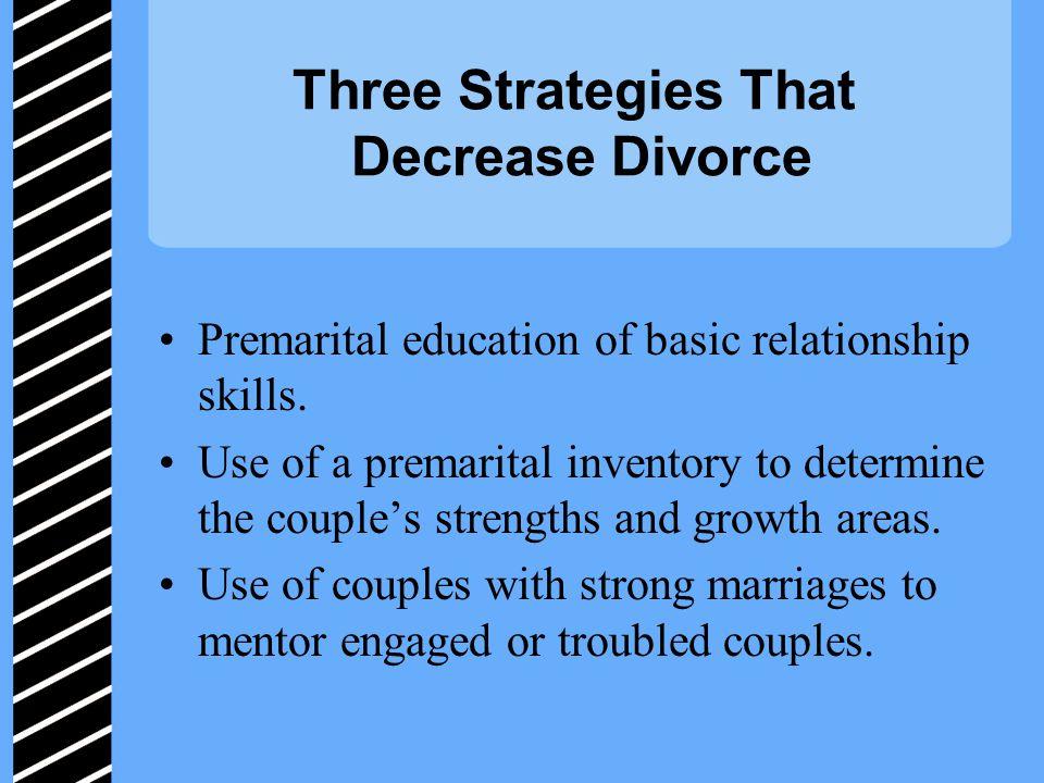 Three Strategies That Decrease Divorce Premarital education of basic relationship skills.