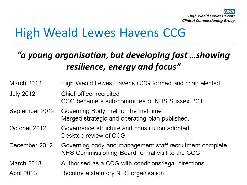 High Weald Lewes Havens CCG March 2012High Weald Lewes Havens CCG formed and chair elected July 2012Chief officer recruited CCG became a sub-committee of NHS Sussex PCT September 2012Governing Body met for the first time Merged strategic and operating plan published.