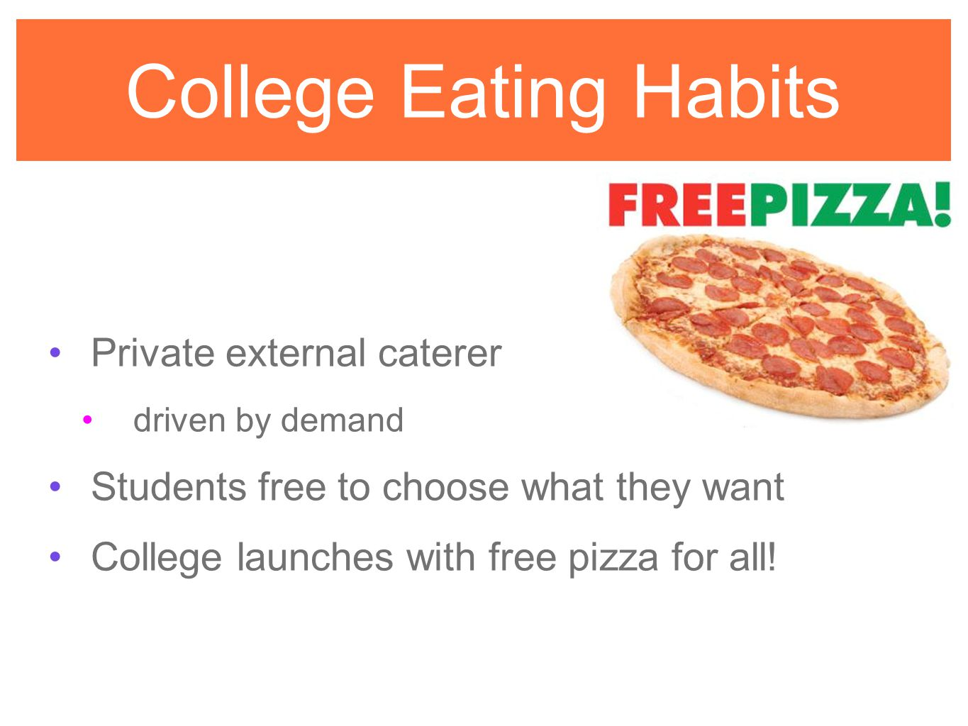 College Eating Habits Private external caterer driven by demand Students free to choose what they want College launches with free pizza for all!