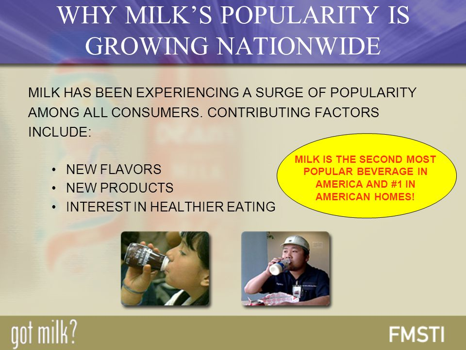 WHY MILK'S POPULARITY IS GROWING NATIONWIDE MILK HAS BEEN EXPERIENCING A SURGE OF POPULARITY AMONG ALL CONSUMERS.