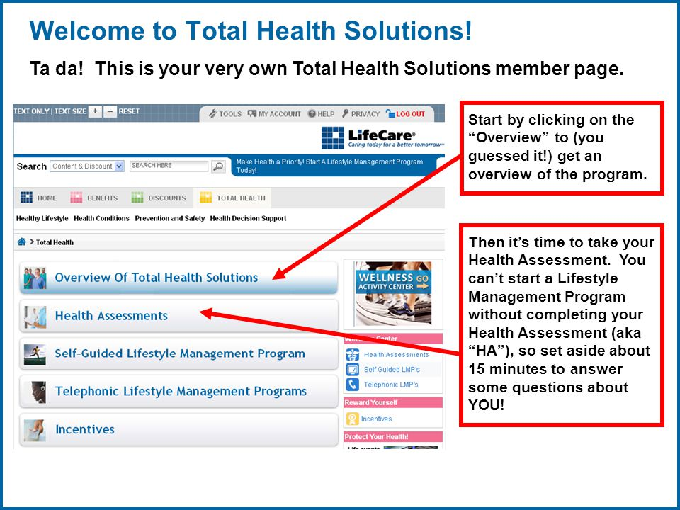 Copyright © 1998-2008, LifeCare ®, Inc. All rights reserved. 6 06/29/2007 2:30pmeSlide - P4065 - LifeCare Welcome to Total Health Solutions! Ta da! Th