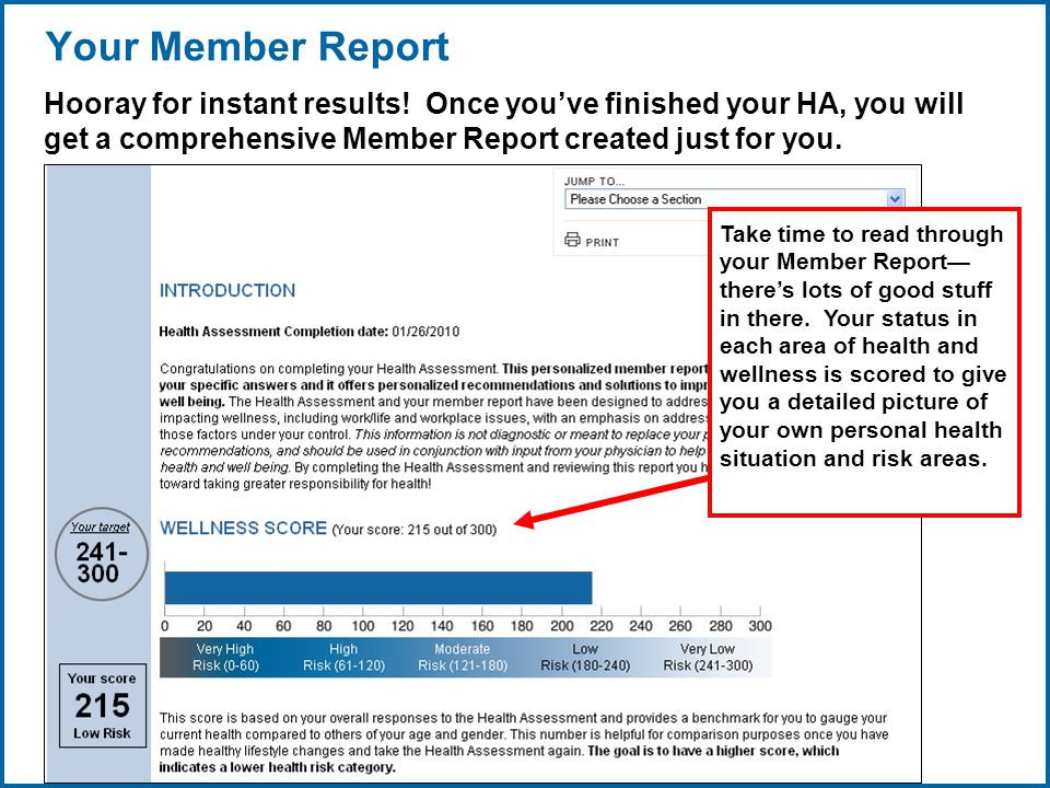 Copyright © 1998-2008, LifeCare ®, Inc. All rights reserved. 8 06/29/2007 2:30pmeSlide - P4065 - LifeCare Your Member Report Hooray for instant result