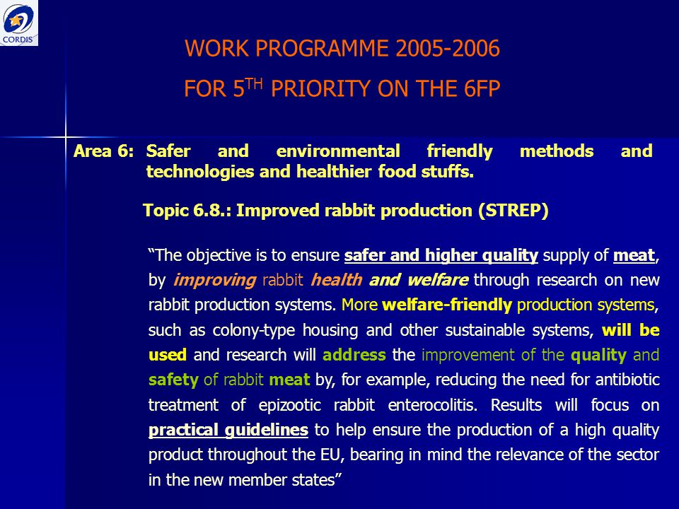 WORK PROGRAMME 2005-2006 FOR 5 TH PRIORITY ON THE 6FP Area 6:Safer and environmental friendly methods and technologies and healthier food stuffs. Topi