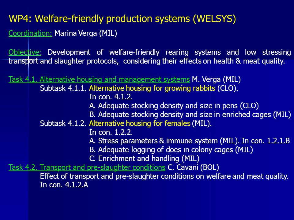 WP4: Welfare-friendly production systems (WELSYS) Coordination: Marina Verga (MIL) Objective: Development of welfare-friendly rearing systems and low
